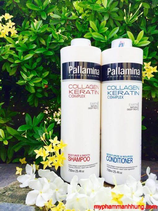 Cặp Dầu gội xả Pallamina Collagen Keratin 750ml