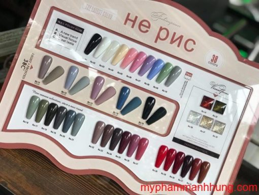Set sơn gel 15ml He PNC 38 màu + base top