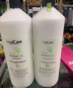 Cặp thuốc ép duỗi tóc Maxcare Argan Oil 1000ml x2